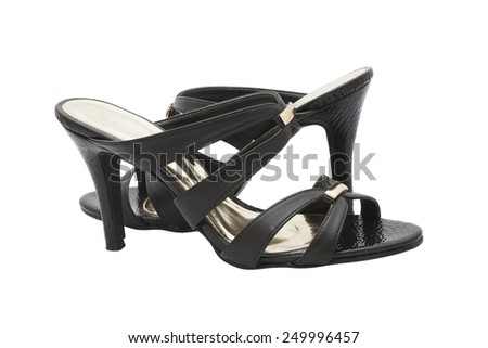 pair of black high heel shoes for lady on white background - stock photo
