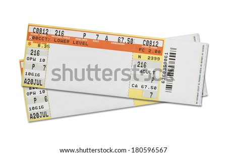 Pair of Blank Concert Tickets Isolated on White Background. - stock photo