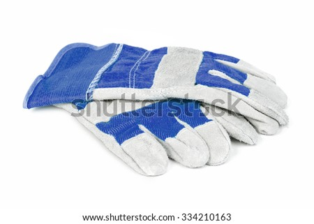 Pair of blue protective work gloves isolated on a white background. - stock photo