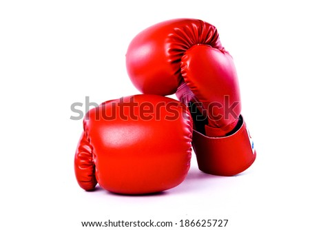 Pair of Boxing Gloves Red Leather Isolated on white background. - stock photo