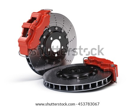 Pair of Brake Discs with Red Sport Racing Callipers isolated on white. 3d rendering - stock photo