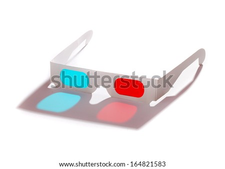 Pair of 3D glasses Isolated on white background - stock photo