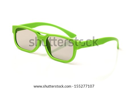 Pair of 3d polarized glasses for watching 3-d movies in cinema - stock photo