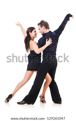 Pair of dancers isolated on the white - stock photo