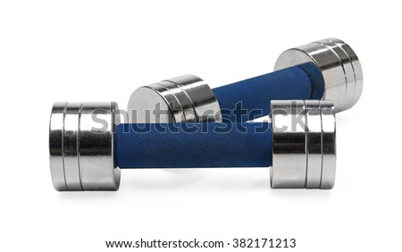 Pair of dumbbells isolated over white background - stock photo
