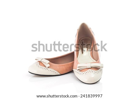 Pair of female shoe isolated on white background - stock photo