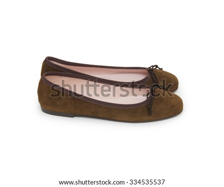 Pair of female shoe on white background  - stock photo
