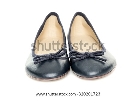 Pair of female shoes over white background - stock photo