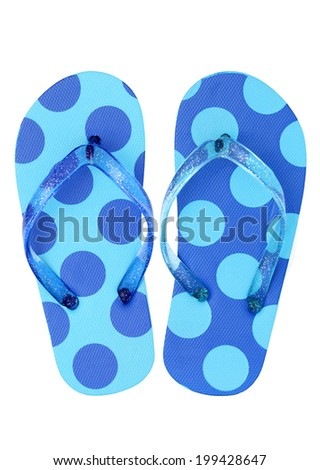 Pair of flip flop sandals isolated on white background - stock photo