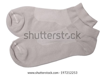 Pair of gray socks isolated on white background - stock photo