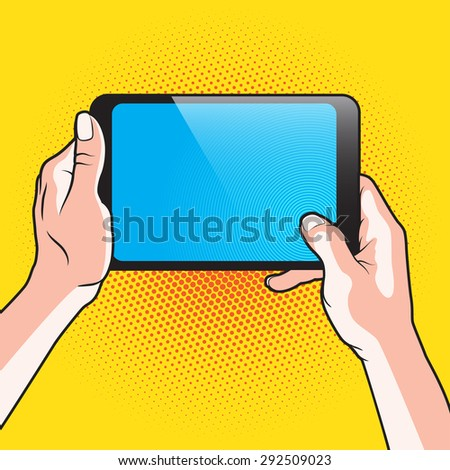 Pair of Hand and Touch Tablet Portable PC - stock photo