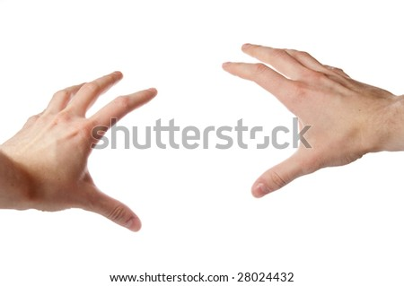 Pair of isolated hands - stock photo