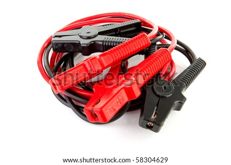 pair of jumper cables isolated on white background - stock photo