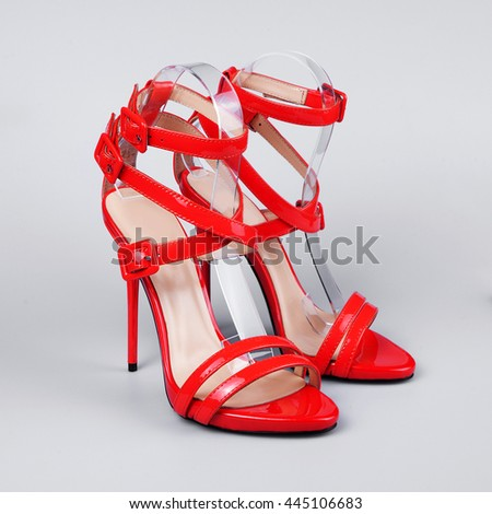 Pair of luxurious women summer shoes isolated over white - stock photo