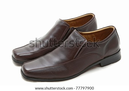 pair of luxury brown leather man shoes on a white background - stock photo