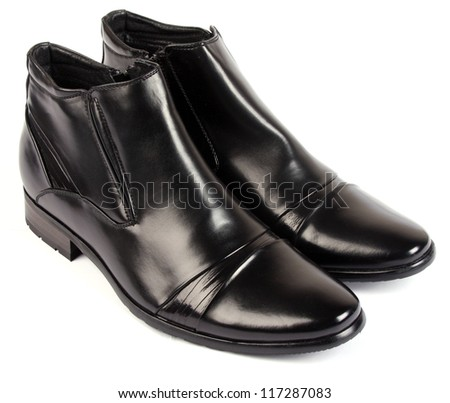 pair of man's black shoes - stock photo