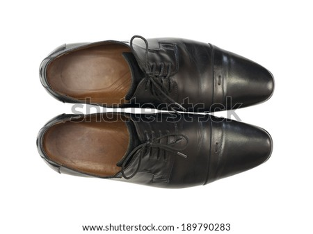 Pair of men's shoes in classic style. Isolated on white background - stock photo