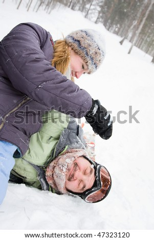 pair of merry young - stock photo