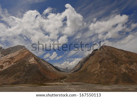 Pair of mountains in Zanskar in the Indian Himalayas - stock photo