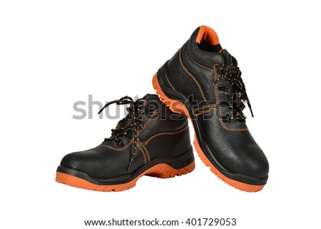 Pair of new black working boots - stock photo