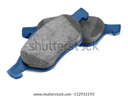 Pair of new brake pads isolated on white - stock photo