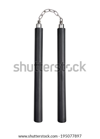 Pair of nunchuks isolated on white background with clipping path - stock photo