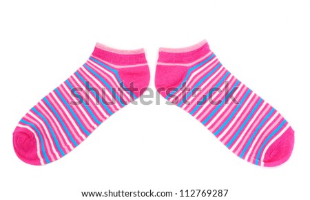 pair of pink striped socks isolated on white background - stock photo