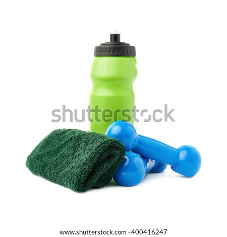 Pair of Plastic coated dumbells isolated over the white background - stock photo