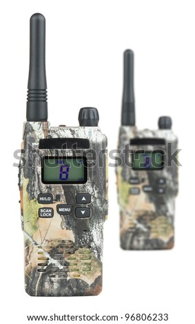Pair of PMR radios and white isolated background. - stock photo