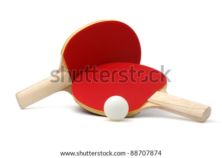 Pair of red ping-pong rackets and white ball, isolated on white background - stock photo