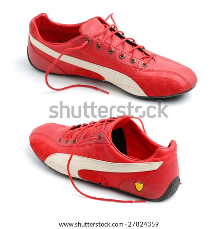 Pair of red sport shoes - stock photo