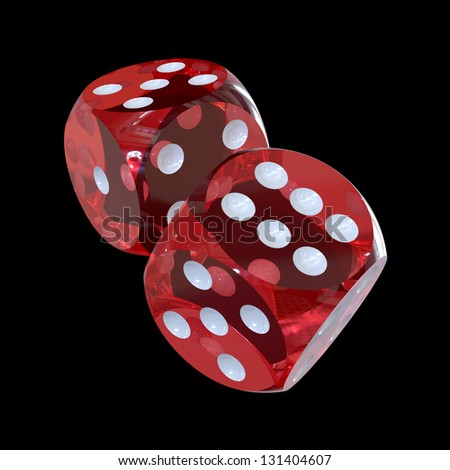 Pair of red transparent gaming dices isolated on black, 3d render (contains clipping path) - stock photo