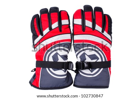 Pair of red white grey ski gloves isolated - stock photo