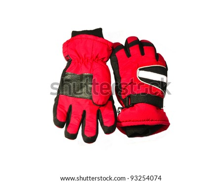 Pair of red winter ski gloves - stock photo
