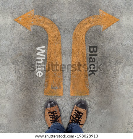 Pair of shoes and two arrows with White, Black - stock photo