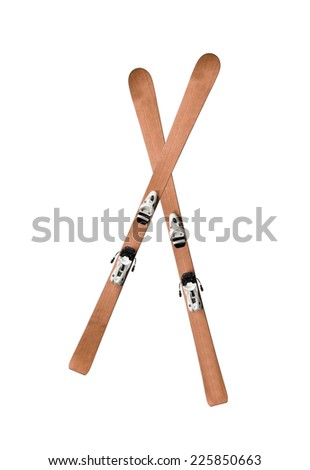 pair of skis isolated - stock photo