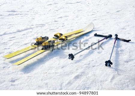 Pair of skis on snow. - stock photo