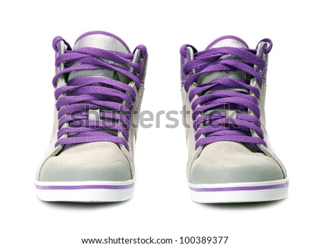Pair of sneakers isolated on white background - stock photo