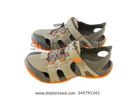 Pair Of Sport Sandals Over White Background - stock photo