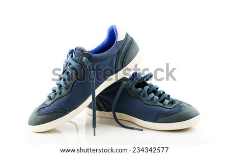 pair of sport trainers isolated on white background - stock photo