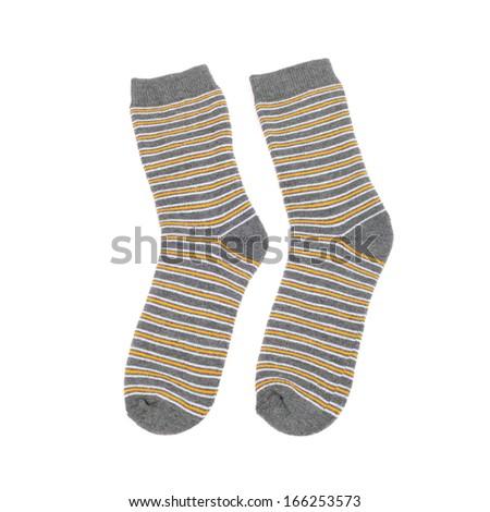 pair of striped socks closeup - stock photo