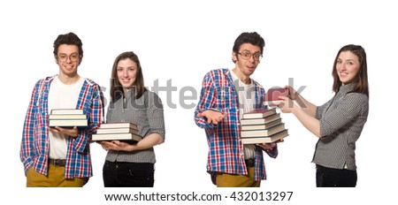 Pair of students isolated on white - stock photo
