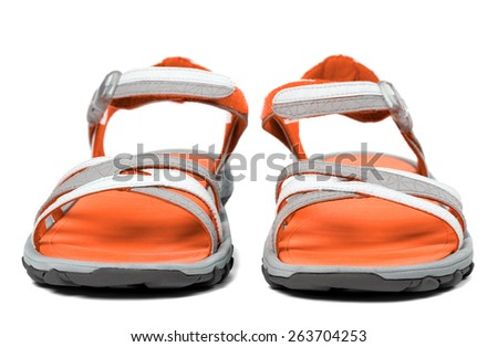 Pair of summer sandals. Isolated on white background. Front view. - stock photo