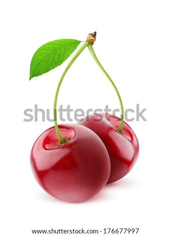 Pair of sweet cherries with stem and leaf over white background - stock photo