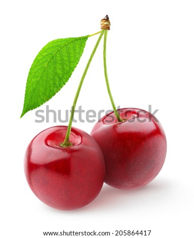 Pair of sweet cherries with stems and leaf over white background - stock photo