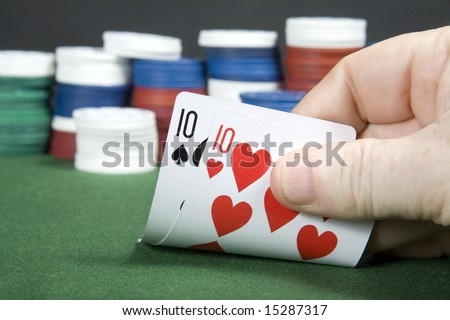 Pair of tens at poker - stock photo