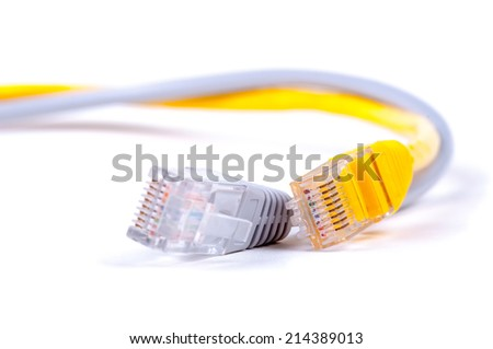 Pair of twisted network Ethernet cables. Close-up with Shallow Depth of Field. Isolated on white background.  - stock photo