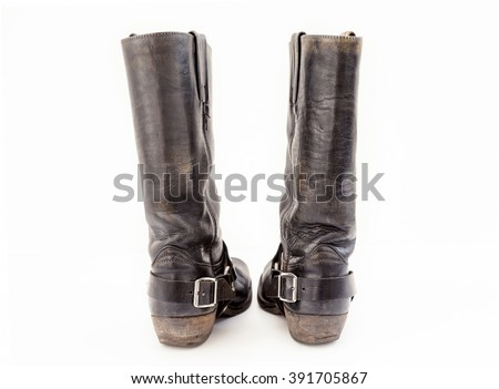 pair of vintage boots isolated on white background - stock photo