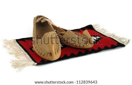 Pair of vintage Serbian leather traditional shoes - srpski opanak, opanci Srbija - stock photo