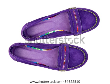 Pair of violet female shoes over white, view from above - stock photo